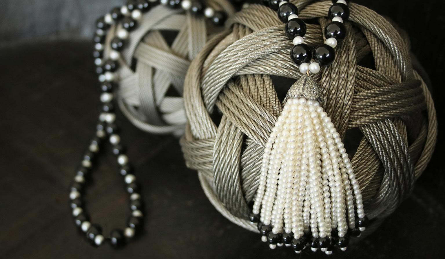 Black Onyx Pearl Diamond Tassel Necklace