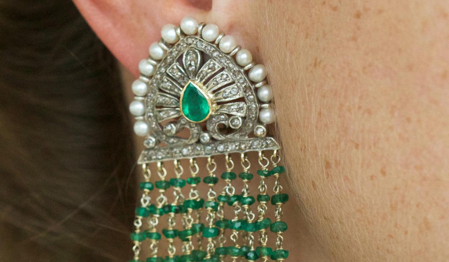 Emerald Pearl and Diamond Earrings