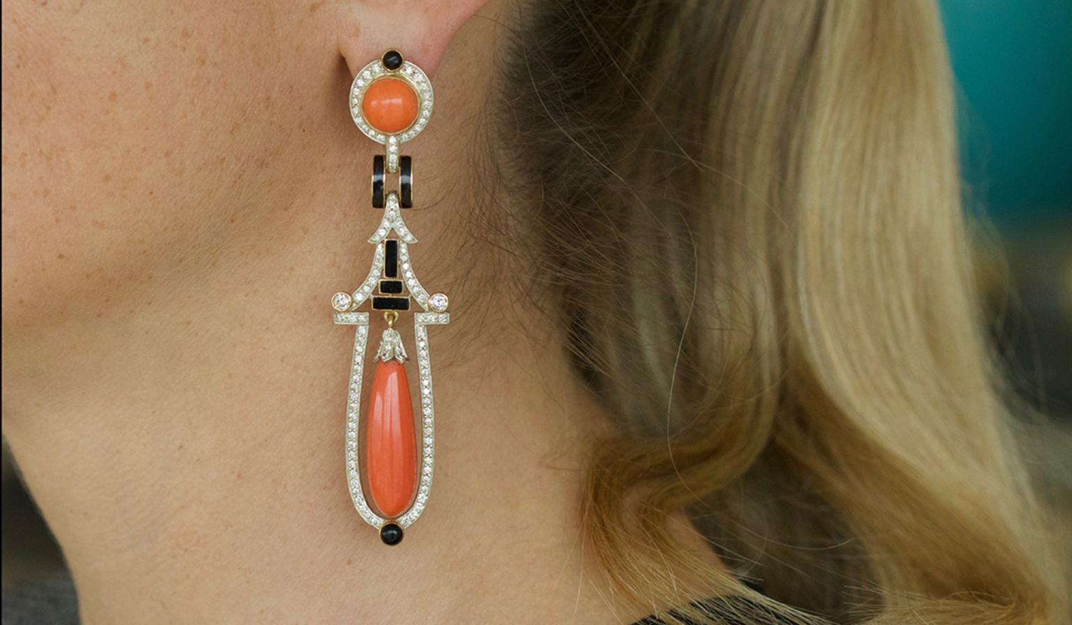 Coral Diamond and Black Enamel Earrings